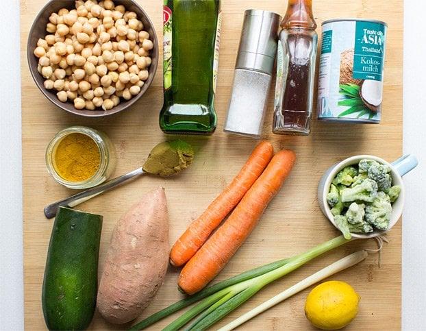 Vegan Coconut Curry | No Effort, Full Taste - coconut curry ingredients #vegan #main | hurrythefoodup.com