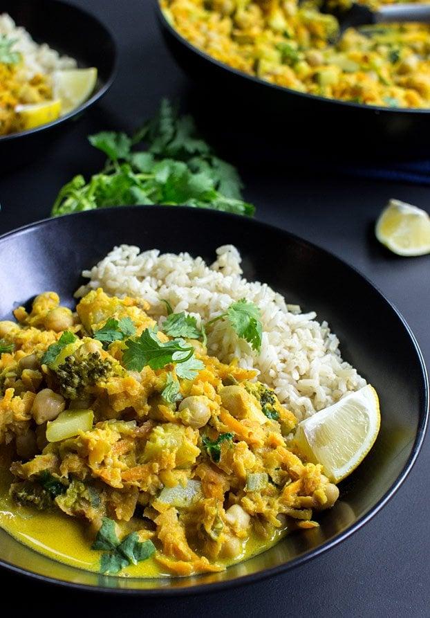 Vegan Coconut Curry | No Effort, Full Taste - coconut curry serving inspiration #vegetarian #indian | hurrythefoodup.com