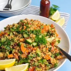 Colourful Tabbouleh Salad - All Vegan & Ready in 15 Minutes - colourful tabbouleh salad ready to serve #beetroot #orange | hurrythefoodup.com