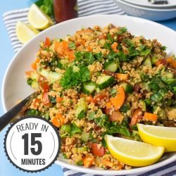 Colourful Tabbouleh Salad - All Vegan & Ready in 15 Minutes | hurrythefoodup.com
