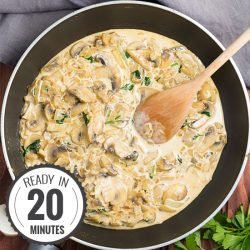 Creamy Garlic Mushrooms - ready in 20 minutes | hurrythefoodup.com