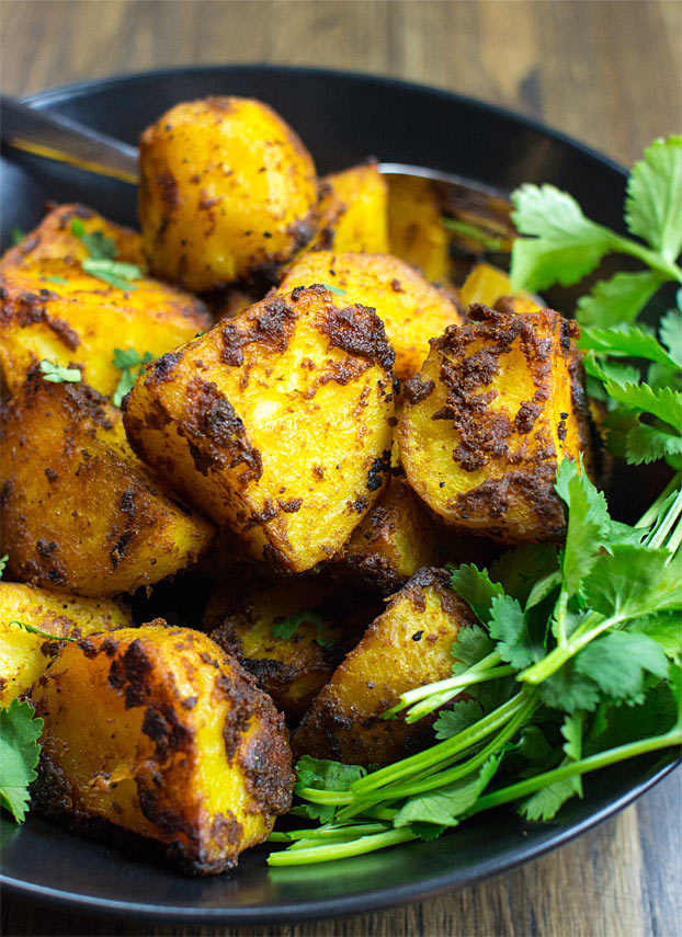 Irish Bombay Potatoes - The Best Curried Potatoes in the World - bombay potatoes ready to serve #side #oven | hurrythefoodup.com