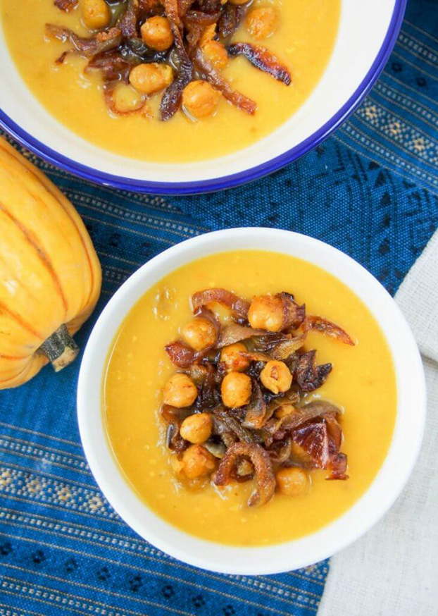 Delicata squash soup with curried chickpeas and onions - 18 Vegan Winter Soups