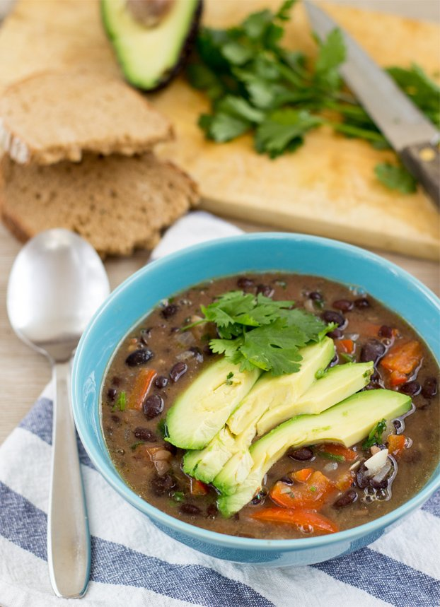 Spicy Black Bean Soup - 18 Vegan Winter Soups | hurrythefoodup.com
