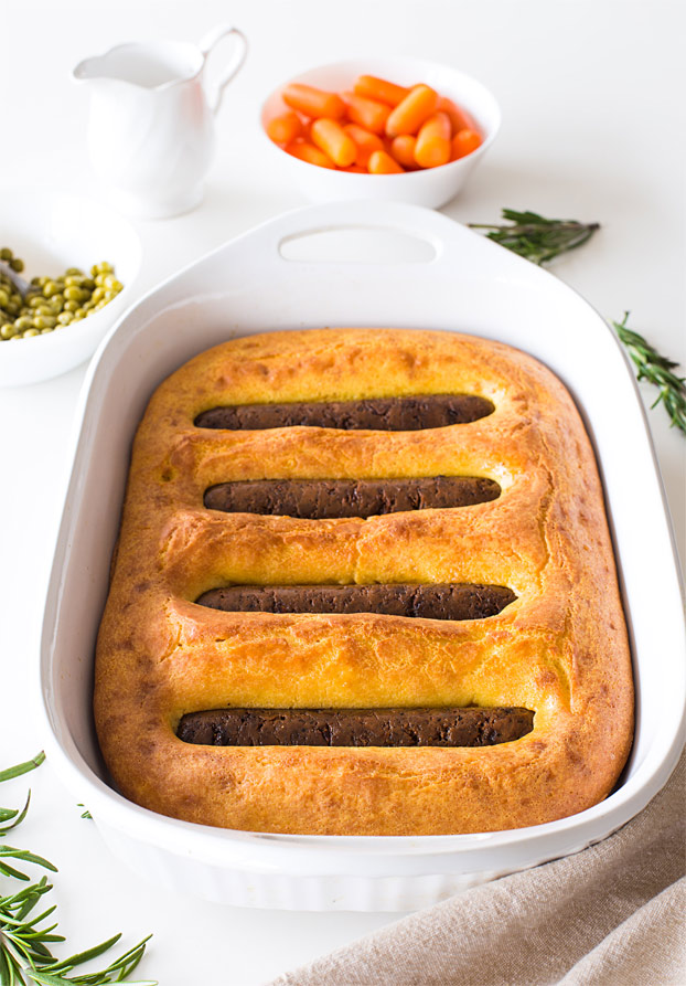 Vegetarian Toad in the Hole - The New Classic - vegetarian toad ready to eat #main #yorkshire pudding | hurrythefoodup.com