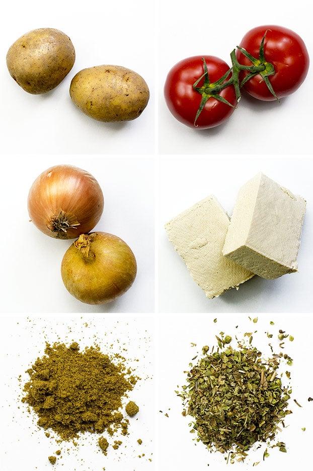 Vegan Breakfast Potatoes - Break the Fast - recipe ingredients #potato #tofu #onion | hurrythefoodup.com