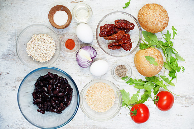 Ingredients for vegan or veggie burger | Hurry The Food Up