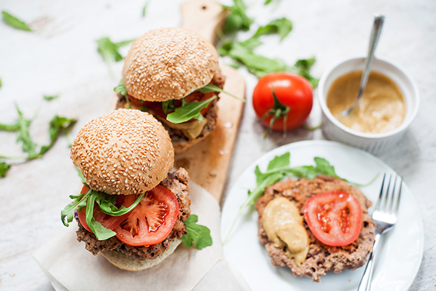 Serving bean burgers with salad and sauce | Hurry The Food Up