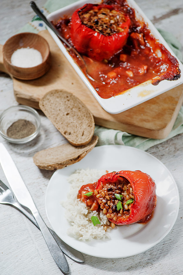 Easy Stuffed Bell Peppers in Mediterranean tomato sauce - stuffed bell pepper is ready #tomato sauce #bake | hurrythefoodup.com