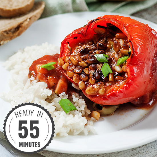 Easy Stuffed Bell Peppers in Mediterranean tomato sauce | hurrythefoodup.com