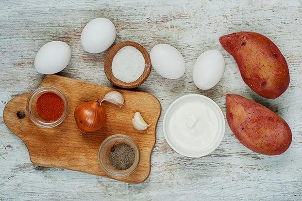 Healthy Sweet Potato Casserole - Hungarian-style - casserole ingredients #sweet potatoes #vegetarian   hurrythefoodup.com
