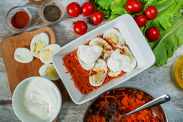 Healthy Sweet Potato Casserole - Hungarian-style - preparing the casserole with grated sweet potato #prep and relax #garlic   hurrythefoodup.com