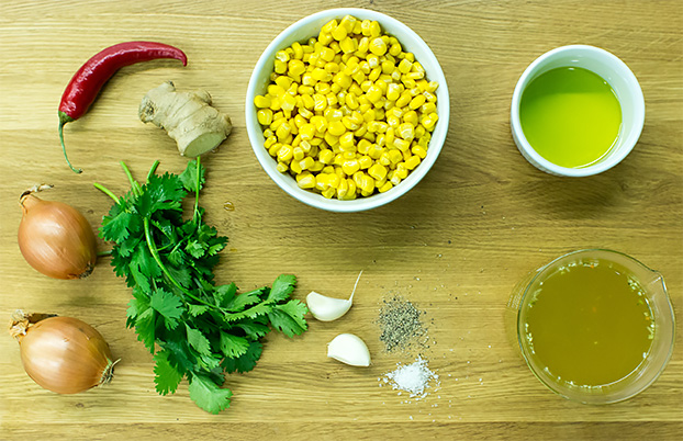 Asian-style Creamy Corn Soup - Vegan and super-quick - creamy corn soup ingredients #easy #vegan | hurrythefoodup.com