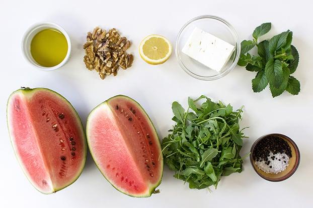 Watermelon and Feta Salad - Fresh & Fruity - salad ingredients #watermelon #vegetarian | hurrythefoodup.com