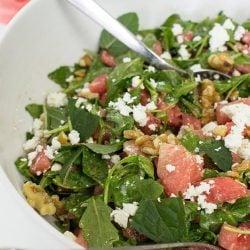 Watermelon and Feta Salad - Fresh & Fruity - salad is ready #salad #arugula   hurrythefoodup.com