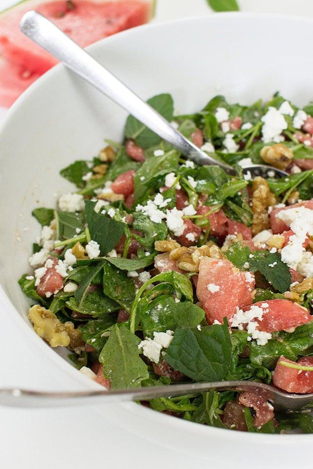 Watermelon and Feta Salad - Fresh & Fruity - salad is ready #salad #arugula | hurrythefoodup.com