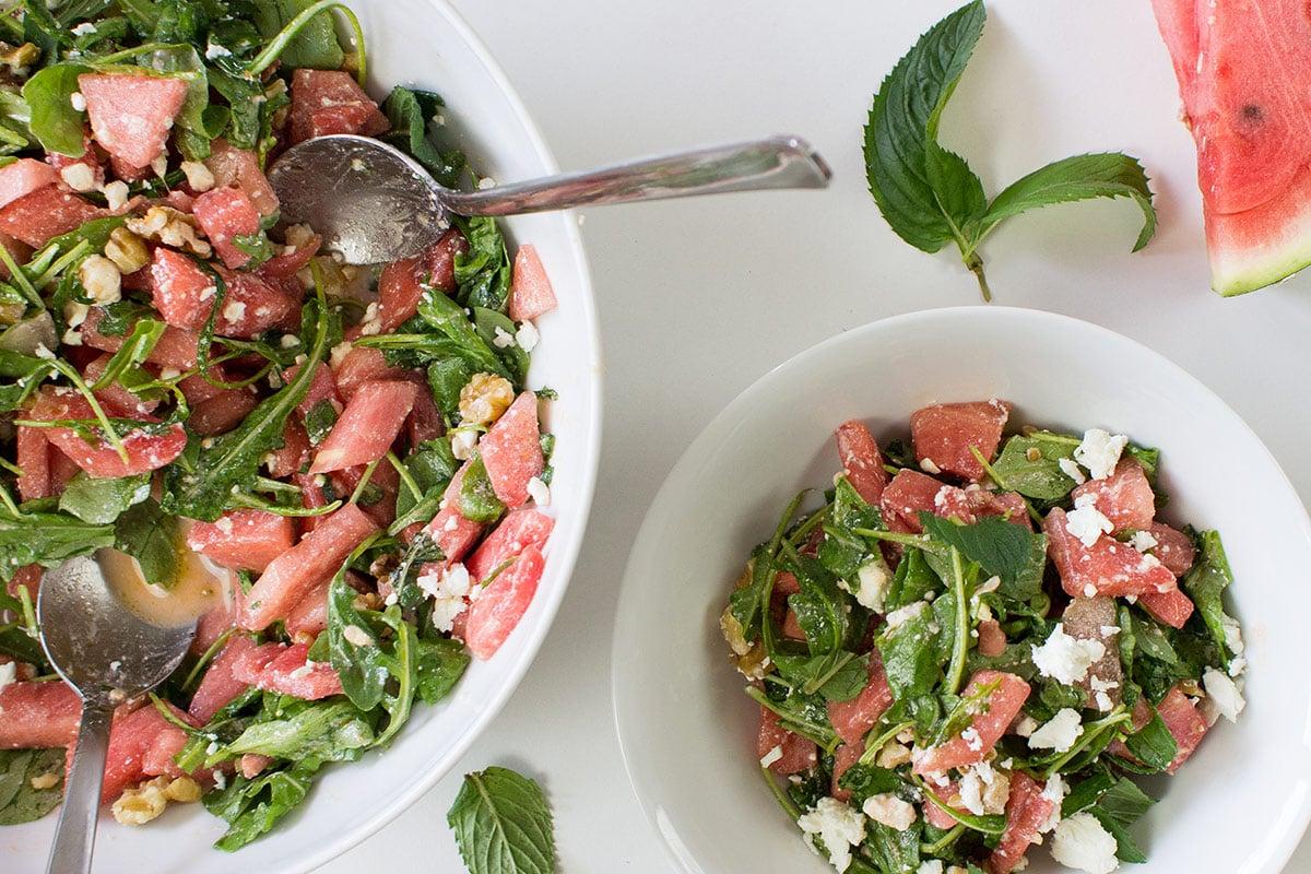 Watermelon and Feta Salad - Fresh & Fruity - salad is served #watermelon #lemon | hurrythefoodup.com