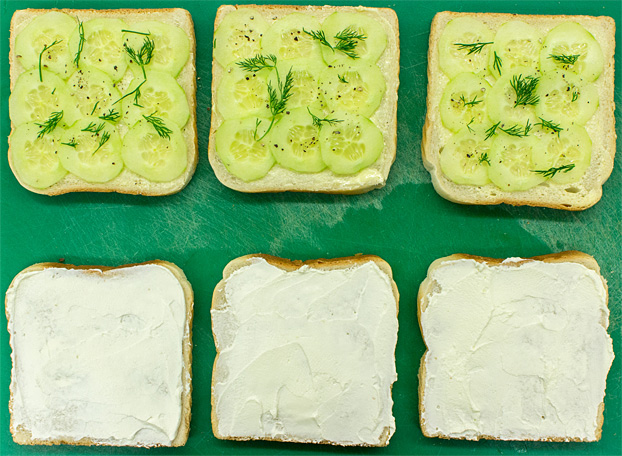 Society Cucumber Sandwiches - the Dos and Don'ts - assembling the sandwich #sandwich #appetizer | hurrythefoodup.com