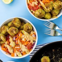 Fabulous Falafel and Fake Tahini Salad (high-protein & vegan) - fabulous falafel salad ready to serve #falafel #easy | hurrythefoodup.com