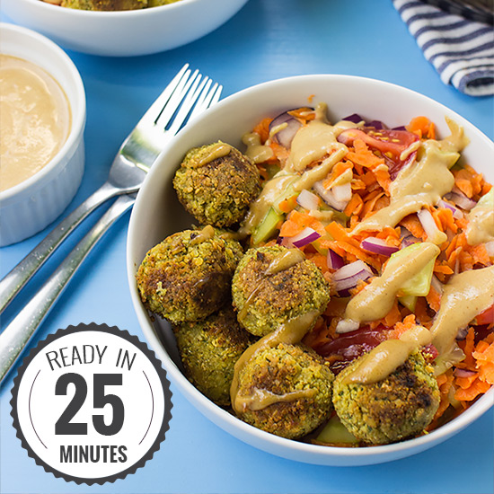 Fabulous Falafel and Fake Tahini Salad (high-protein & vegan) | hurrythefoodup.com