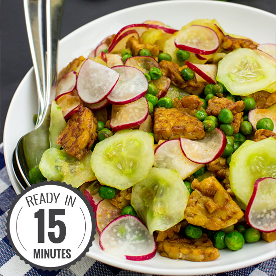 High-protein Tangy Tempeh Salad- Quick & Vegan| hurrythefoodup.com