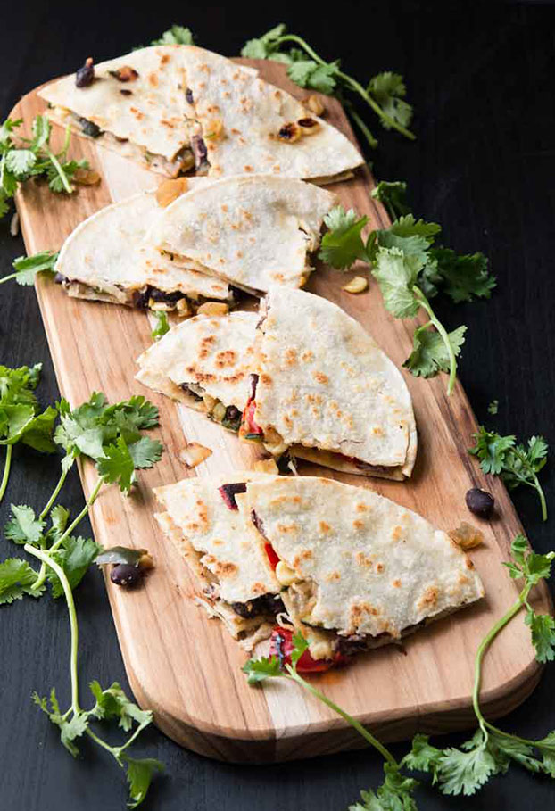 Grilled Veggie Quesadilla With Black Beans - 21 Cheap Family Meals – Healthy Vegetarian Budget Food | hurrythefoodup.com