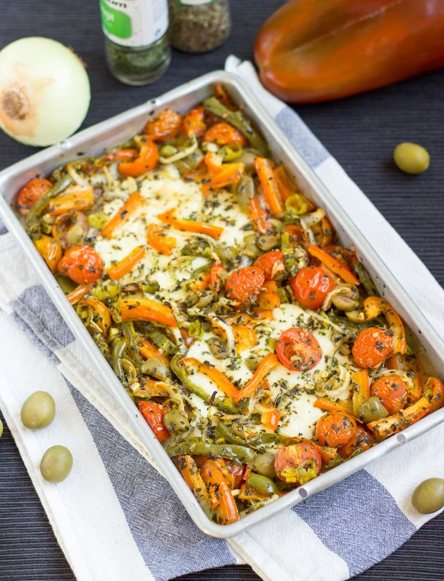 Melted Feta and Veggie Bake - 21 Cheap Family Meals – Healthy Vegetarian Budget Food | hurrythefoodup.com