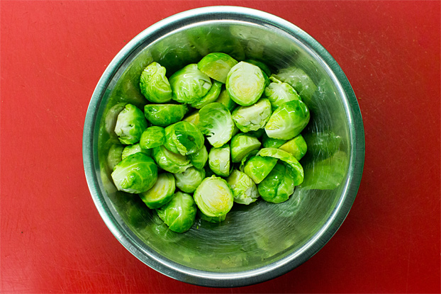 A bowl of brussels ready to be mixed