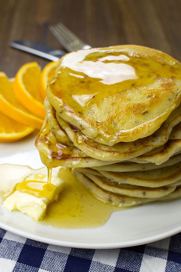 Buttermilk pancakes serving with maple syrup #butter #vegetarian | hurrythefoodup.com