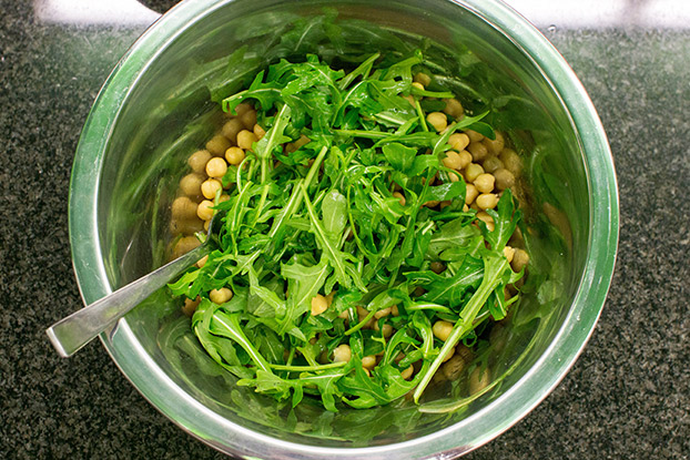Heavenly Halloumi Salad – Curb Your Hunger - chickpeas and a rocket are in the large bowl #vegetarian #olive oil | hurrythefoodup.com