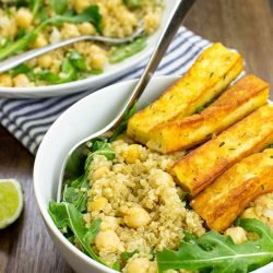 Heavenly Halloumi Salad – Curb Your Hunger - the Halloumi Salad is ready #sweet paprika #arugula | hurrythefoodup.com