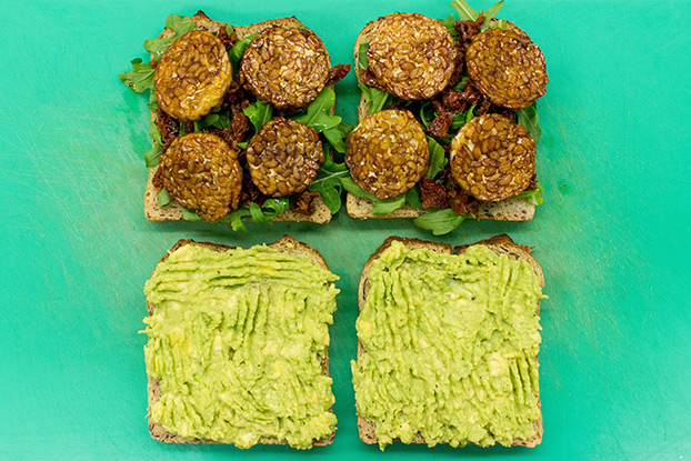 Tempeh Sandwich – Give in to Temptation - all ingredients are on the bread pieces #soy sauce #avocado | hurrythefoodup.com