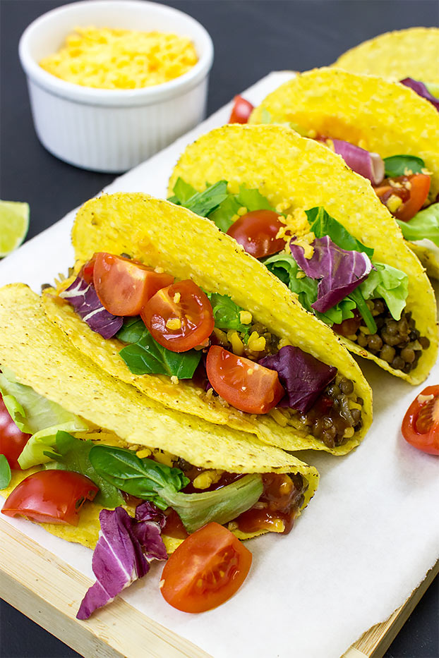 Lentil Tacos – Level Up Dinner - lentil tacos ready to munch #cheese #fajita | hurrythefoodup.com