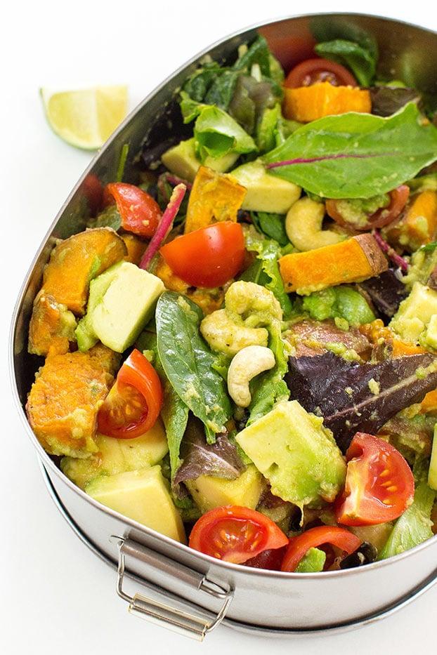 Insanely Nutritious Vegan Sweet Potato Salad #sweet #potato #salad #nuts #healthy #vegan #vegetarian | hurrythefoodup.com