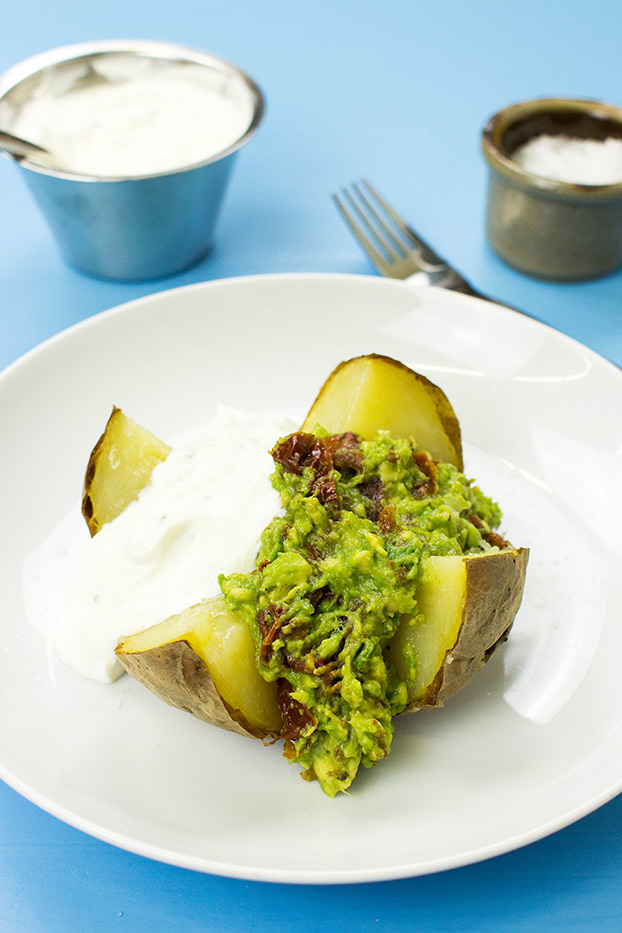 #Microwave Baked Potato – The Ultimate Guide - baked potatoes filled with avocado and sweet chilli sauce | hurrythefoodup.com