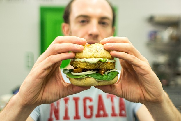 Quinoa Burgers – The future of all burgers - Dave holds the quinoa burger #lime #cumin | hurrythefoodup.com