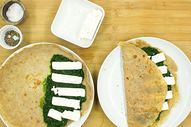 spinach and feta are layered on the pancake #eggs #milk | hurrythefoodup.com