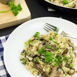 Vegan Mushroom Risotto – Creamy, without the Cream - vegan mushroom risotto is ready #white wine #vegetarian | hurrythefoodup.com