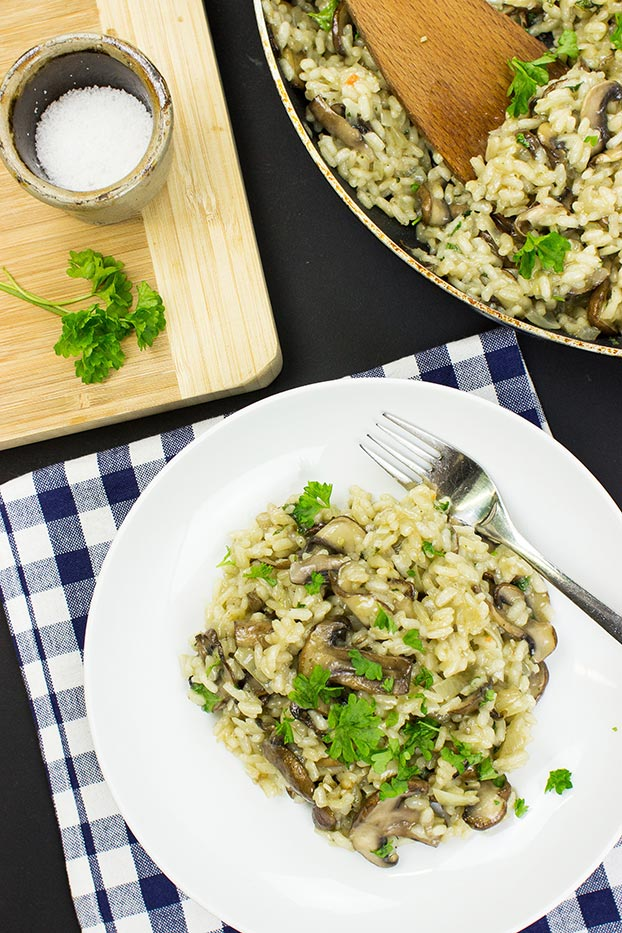 Vegan Mushroom Risotto – Creamy, without the Cream - vegan mushroom risotto is served#olive oil #vegetable broth | hurrythefoodup.com
