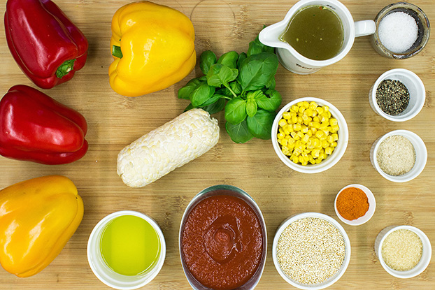Vegan Stuffed Peppers – Packed with Protein - stuffed peppers ingredients #quinoa #veggie broth | hurrythefoodup.com