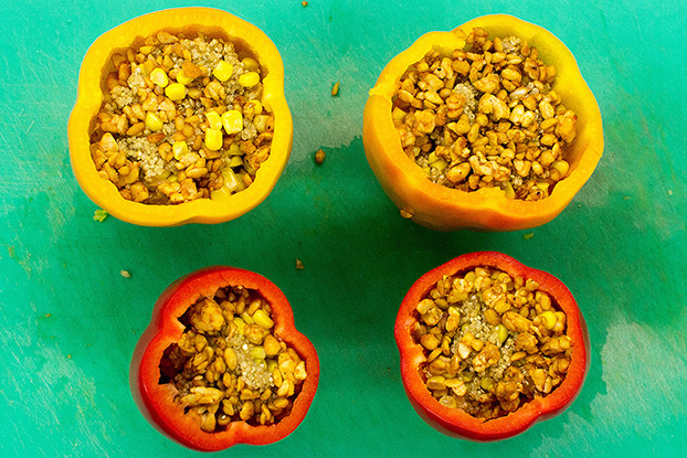 Vegan Stuffed Peppers – Packed with Protein - the peppers are filled with the ingredients #tempeh #olive oil | hurrythefoodup.com