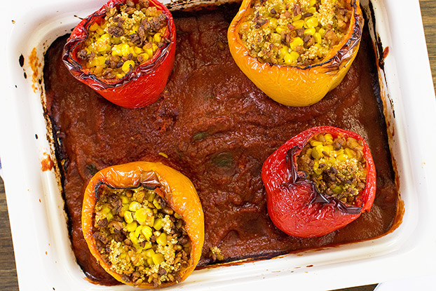 Vegan Stuffed Peppers – Packed with Protein - the dish is ready #salt #basil leaves | hurrythefoodup.com