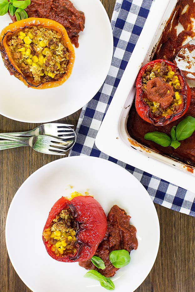 stuffed peppers are served #quinoa #veggie broth | hurrythefoodup.com