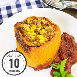 Vegan Stuffed Peppers – Packed with Protein | hurrythefoodup.com