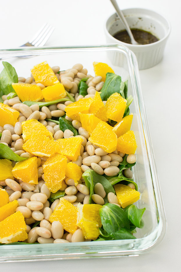 Speedy White Bean Salad - Make Lunch a Joy - Speedy White Bean Salad is ready #orange #mustard | hurrythefoodup.com