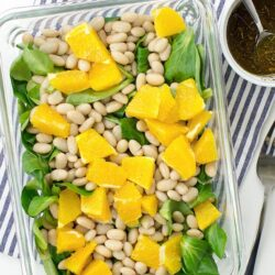 Speedy White Bean Salad - Make Lunch a Joy - Speedy White Bean Salad is served #agave syrup #olive oil | hurrythefoodup.com