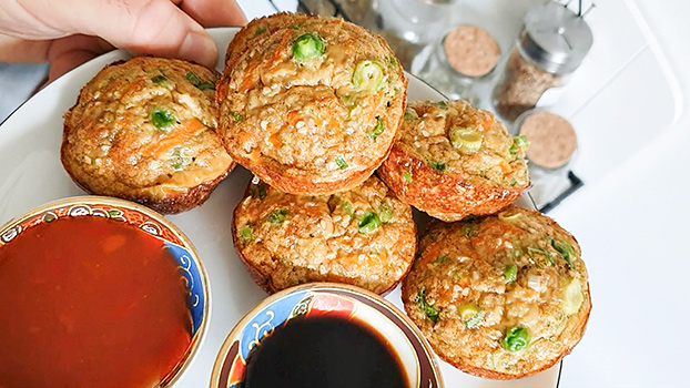 Asian Style Breakfast Egg Muffins #vegetarian #muffin | hurrythefoodup.com