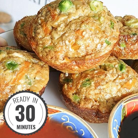 Asian Style Breakfast Egg Muffins #vegetarian #muffin | hurrythefoodup.com