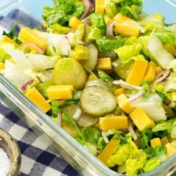 Awesome Cheese Salad – Salad with a bite! - cheese salad is served #cheddar cheese #pickled gherkins | hurrythefoodup.com