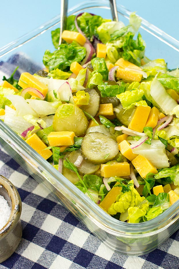 Salad is served #cheddar cheese #pickled gherkins | hurrythefoodup.com